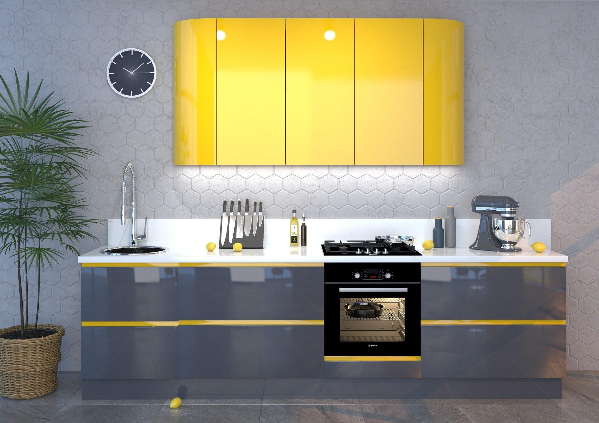 Кухня с интегрированными ручками эмаль